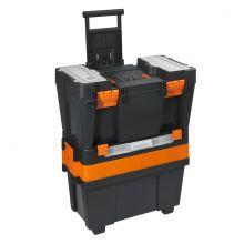 Húzható, többrészes műanyag szerszámláda 490 x 340 x 800 mm