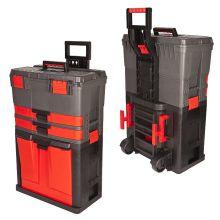 Húzható, többrészes műanyag szerszámláda 500 x 380 x 720 mm