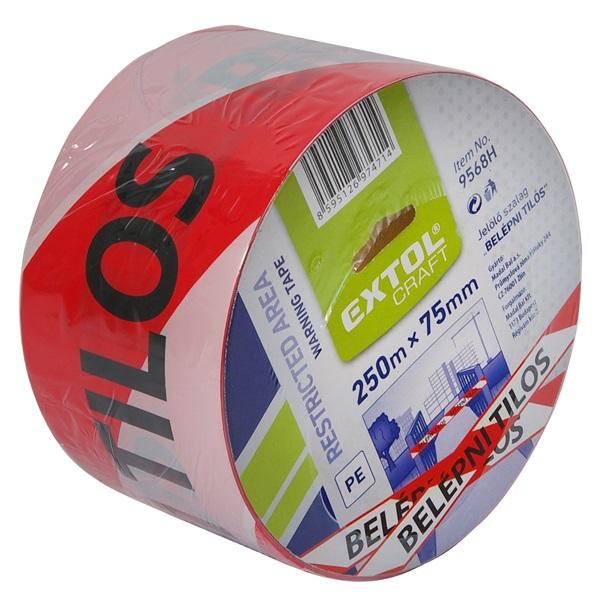 """Kordonszalag, jelölő szalag, piros-fehér; 75mm×250m, polietilén """"BELÉPNI TILOS"""" felirattal"""