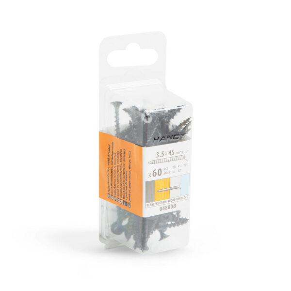 Gipszkarton csavar fa menetes - 3,5 x 45 mm - 60 db / csomag