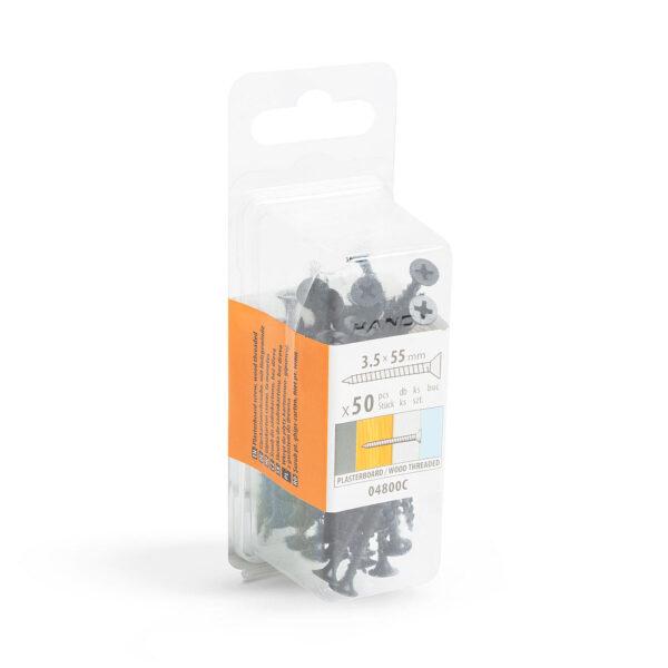 Gipszkarton csavar fa menetes - 3,5 x 55 mm - 50 db / csomag