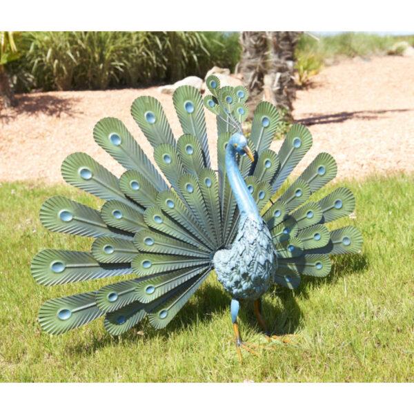 Páva figura, legyezőszerű tollakkal, fém, zöld-Peacock