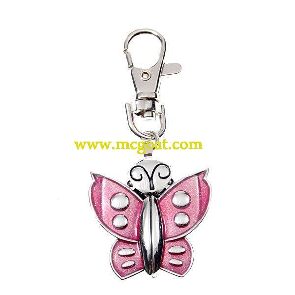 Kulcstartó-óra rózsaszín lepkés
