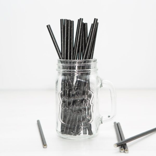 Papír szívószál - fekete 150 db / szett,100%-ban lebomló