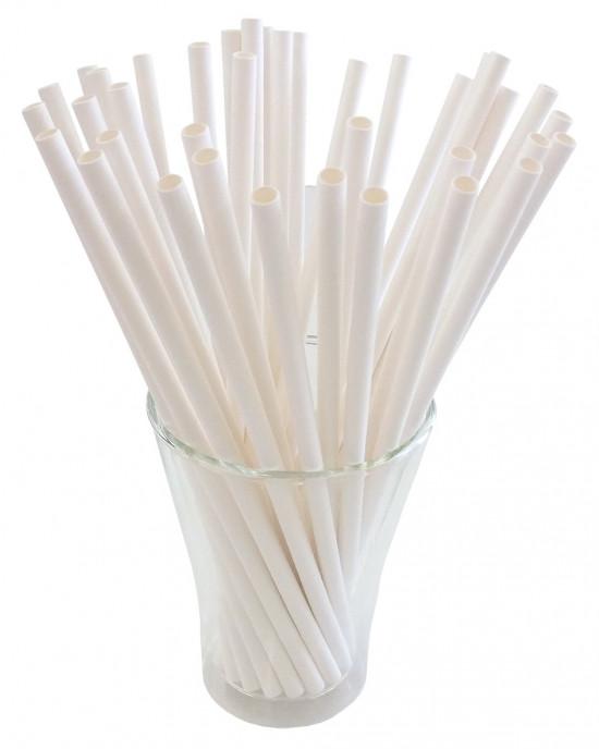 Papír szívószál - fehér 25 db / szett ,100%-ban lebomló