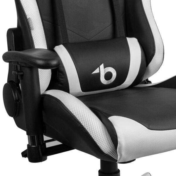 RGB LED-es gamer szék párnával, karfával - 85 x 57 cm / 54 x 52 cm